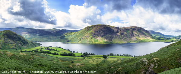 Panoramic view of Crummock Water, Lake District. Canvas print by Phill Thornton