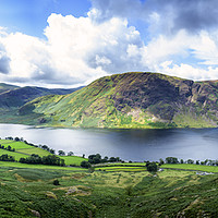 Buy canvas prints of Panoramic view of Crummock Water, Lake District. by Phill Thornton