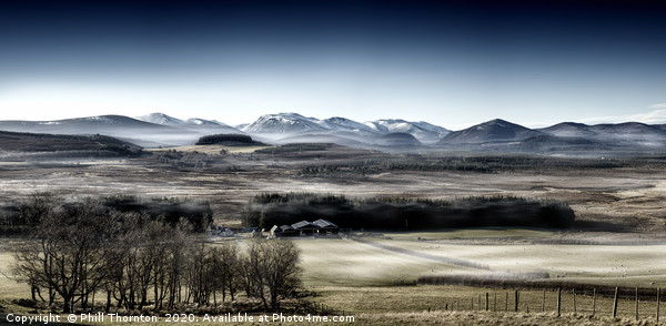 The misty Cairngorm Mountains from the Snow Road Canvas Print by Phill Thornton