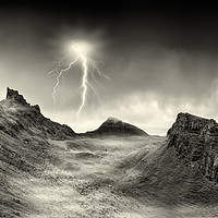 Buy canvas prints of Lightning strikes over the Quiraing, Skye. by Phill Thornton