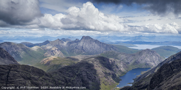 Panoramic view from the summit of the Black Cuilli Canvas Print by Phill Thornton
