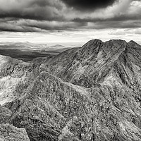 Buy canvas prints of Looking north along the Black Cuillin ridge. by Phill Thornton
