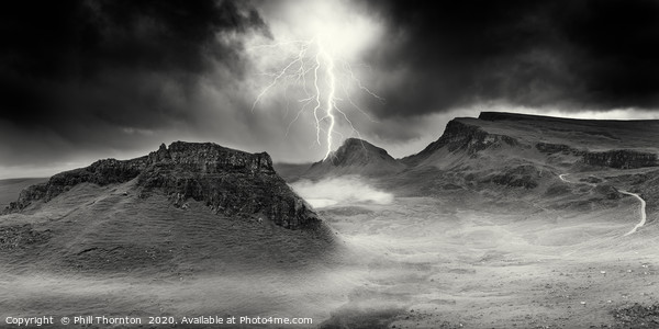 Lightning strikes over the Trotternish Ridge. Canvas Print by Phill Thornton