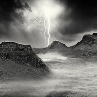 Buy canvas prints of Lightning strikes over the Trotternish Ridge. by Phill Thornton