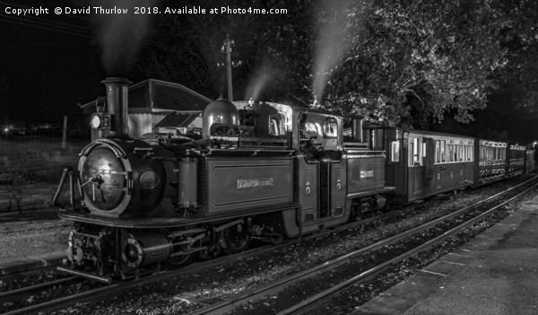 Night Train to Porthmadog Canvas Print by David Thurlow