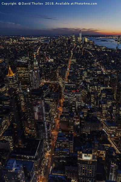 New York City Sunset Canvas Print by David Thurlow
