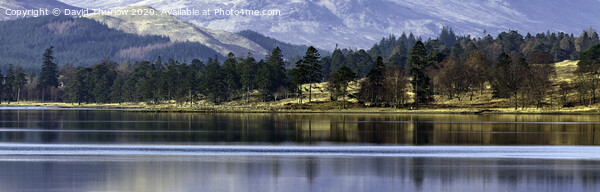 Distant Scottish Shore, Loch Tulla with the Black Mount in the background. Print by David Thurlow