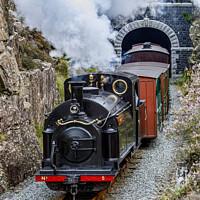 Buy canvas prints of Ffestiniog Railway locomotive, Welsh Pony, exits Moelwyn Tunnel. by David Thurlow