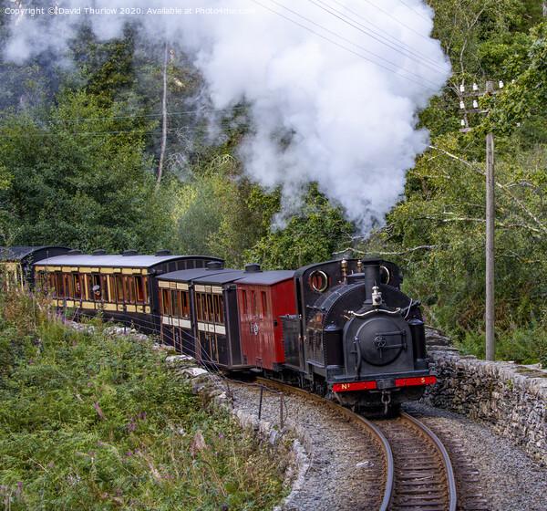 Ffestiniog railway locomotive, Welsh Pony, heads towards Tanybwlch Acrylic by David Thurlow