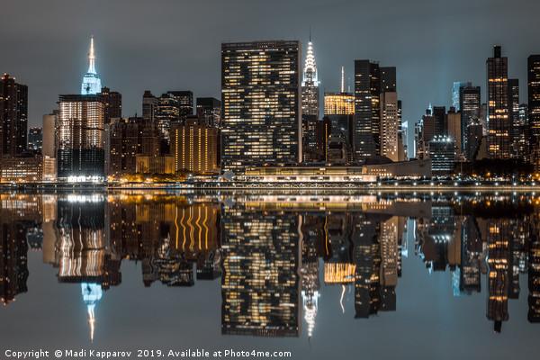 Manhattan at Night Framed Mounted Print by Madi Kapparov