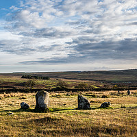 Buy canvas prints of Brisworthy Stone Circle, Ringmoor Down, Dartmoor. by Jean Fry