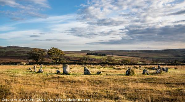Brisworthy Stone Circle on Dartmoor. Canvas Print by Jean Fry