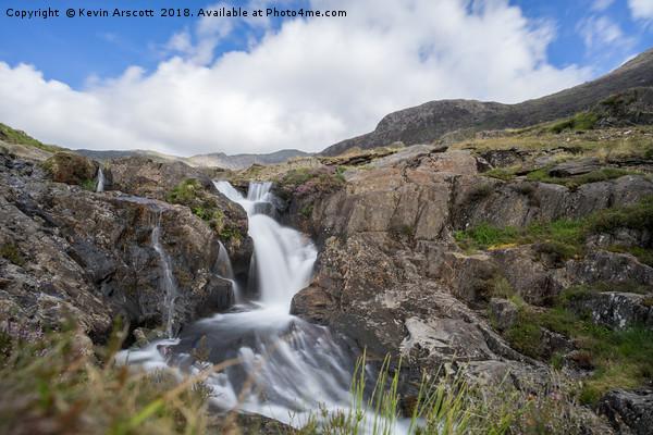 Watkins Trail Waterfall, Snowdonia Canvas Print by Kevin Arscott