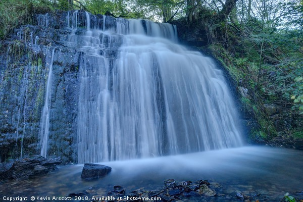 Pistyll Goleu Waterfall, South Wales Canvas print by Kevin Arscott
