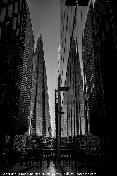 Shard London in black and white Canvas Print by Rosaline Napier