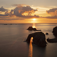 Buy canvas prints of Lands End, Longships Lighthouse, Enys Dodnan, Corn by Tony Howell