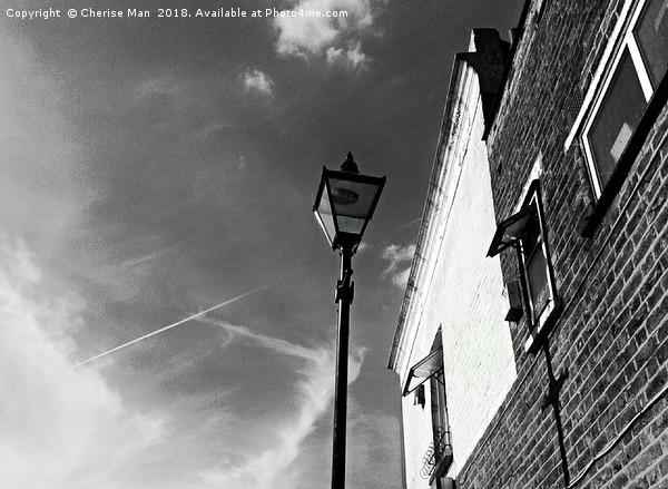 Black and white street light framed photo print Canvas print by Cherise Man
