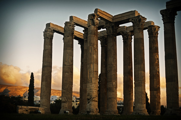 Ancient Greek Temple at Sunset Canvas Print by Cassi Moghan