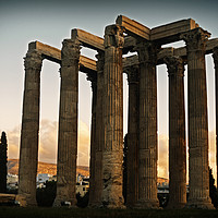 Buy canvas prints of Ancient Greek Temple at Sunset by Cassi Moghan