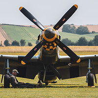 Buy canvas prints of Mustang parked at Duxford air show by Chris Rabe