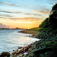 Buy canvas prints of Sunset over Le Grand Havre, Guernsey. by George de Putron