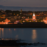Buy canvas prints of Night time over St Peter Port in Guernsey  by George de Putron