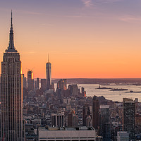 Buy canvas prints of New York City at sunset by JIA HE