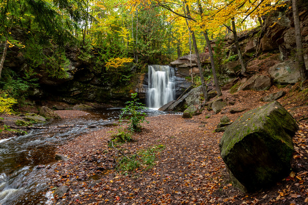 Fall color at the Hungarian Falls Waterfall   Framed Mounted Print by Kirk Hewlett