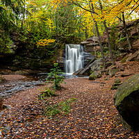 Buy canvas prints of Fall color at the Hungarian Falls Waterfall   by Kirk Hewlett