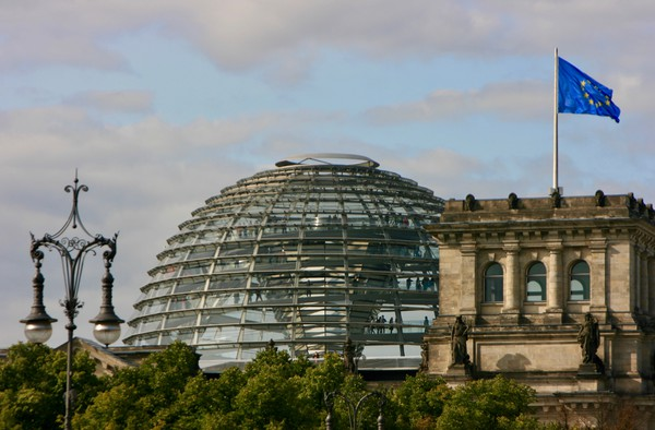 German Reichstag building and Dome in Berlin Canvas Print by Nathalie Hales