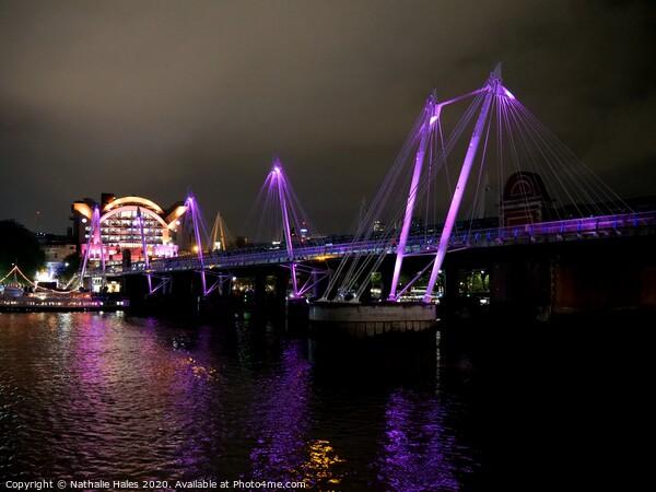 Hungerford Pedestrian Bridge at night Print by Nathalie Hales