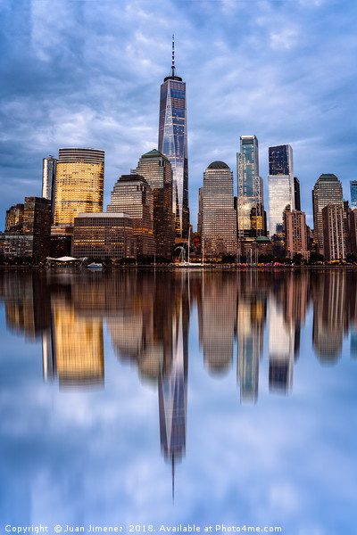 Cityscape of Financial District of New York Framed Mounted Print by Juan Jimenez