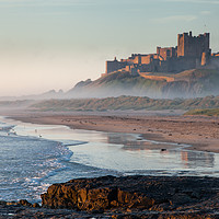 Buy canvas prints of Dawn reflections of Bamburgh by Brian Pain