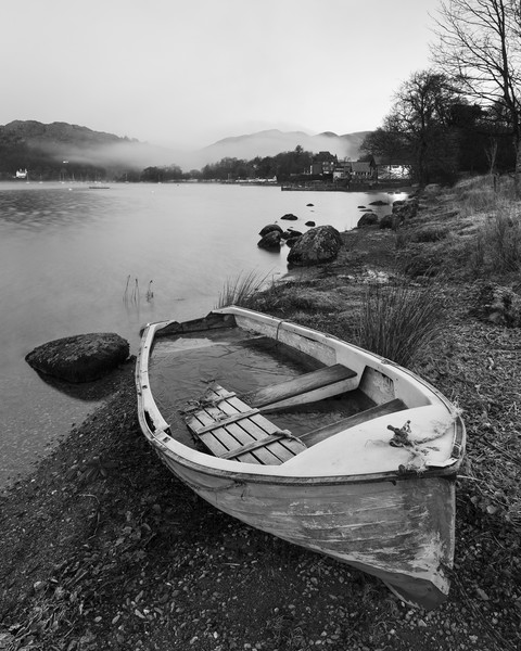 Old rowing boat, Ambleside Canvas print by Tony Higginson