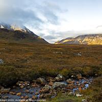 Buy canvas prints of Stream running through Glencoe mountain pass by Jenny Hibbert