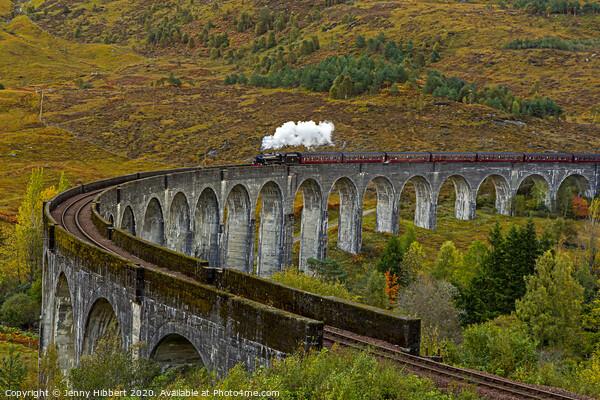 Hogwarts Express train crossing Glenfinnan Viaduct Framed Print by Jenny Hibbert