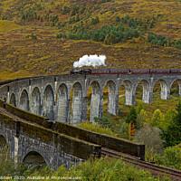 Buy canvas prints of Hogwarts Express train crossing Glenfinnan Viaduct by Jenny Hibbert