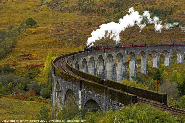 Glenfinnan Viaduct with steam train crossing Framed Print by Jenny Hibbert