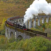 Buy canvas prints of Steam train crossing Glenfinnan Viaduct by Jenny Hibbert