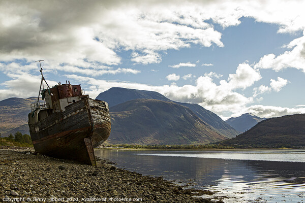 Corpach with  Old boat and Ben Nevis  Canvas Print by Jenny Hibbert