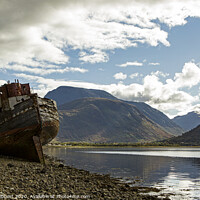 Buy canvas prints of Corpach with  Old boat and Ben Nevis  by Jenny Hibbert