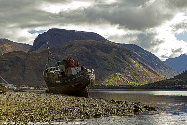 Ben Nevis over looking Corpach and abandoned old boat Canvas Print by Jenny Hibbert