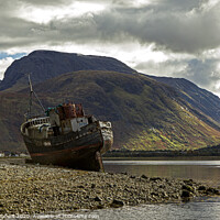 Buy canvas prints of Ben Nevis over looking Corpach and abandoned old boat by Jenny Hibbert