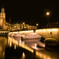 Buy canvas prints of Grossmuenster Cathedral in Zurich at night by Nando Lardi