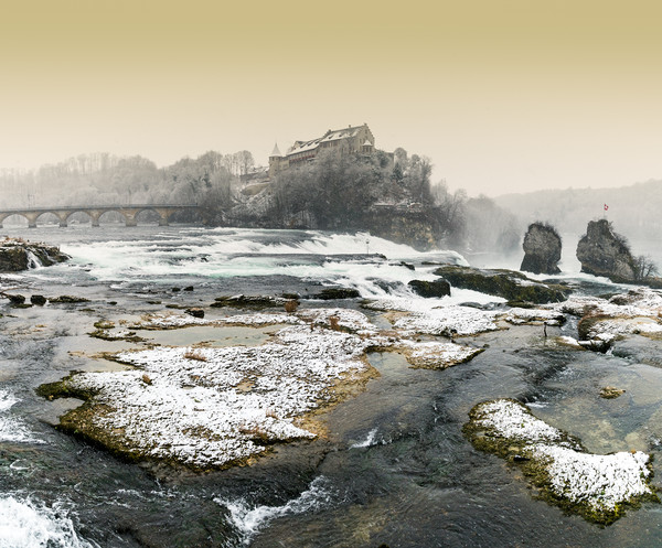 Rhine Falls in winter Canvas print by Nando Lardi