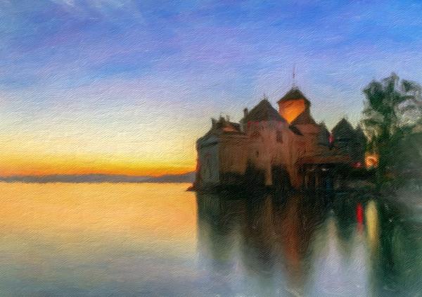 Chillon Sunset in Oil Canvas Print by Nando Lardi