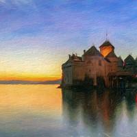 Buy canvas prints of Chillon Sunset in Oil by Nando Lardi