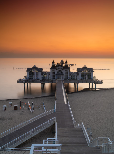Sellin Pier Sunrise Canvas Print by DiFigiano Photography