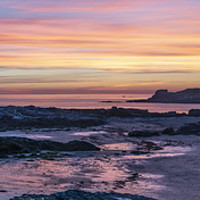 Buy canvas prints of Godrevy lighthouse at sunset Cornwall by kathy white