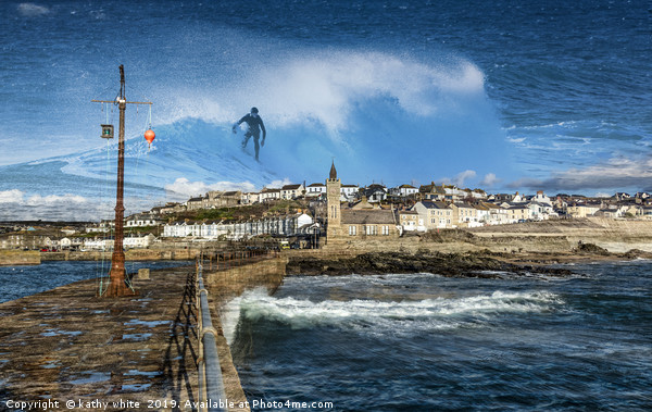 Surfing in Porthleven  in Cornwall Canvas Print by kathy white